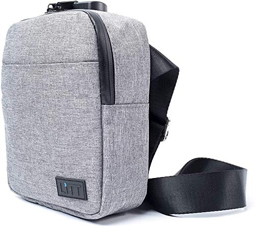 LiTT Smell Proof Stash Bag - Charcoal Lined, Cross Body Bag Blocks Smoking Odour | Travel Organizer & Lifestyle Accessory, Grey | High Quality Fabric with combination Lock