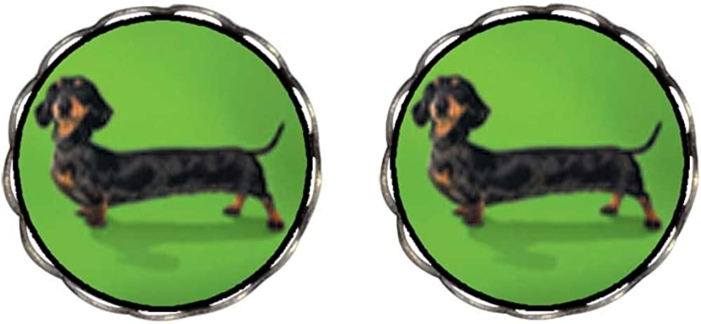 GiftJewelryShop Bronze Retro Style Weiner Dog Photo Clip On Earrings Flower Earrings 12mm Diameter