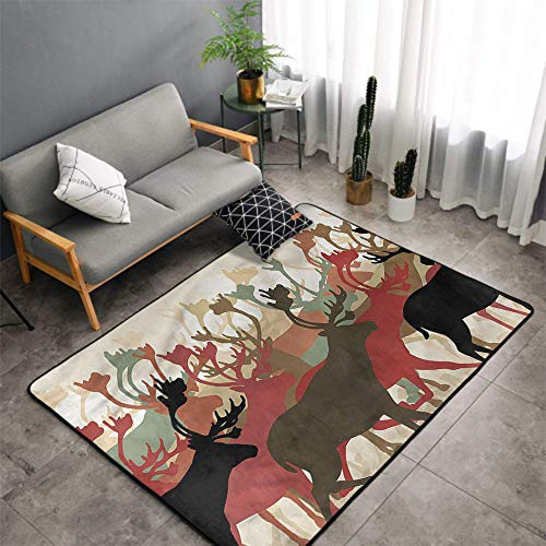 Christmas Area Rug Carpet Antler Indoor/Outdoor Rug,Reindeer Caribou Wildlife Machine-Washable/Non-Slip,