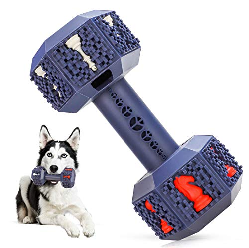 NEOROD Durable Dog Chew Toys for Aggressive Chewer. Indestructible Interactive Dental Toys for Training and Cleaning Teeth. Natural Rubber Bacon Flavored Dumbbell Dispensing Toy for Large Medium Dogs