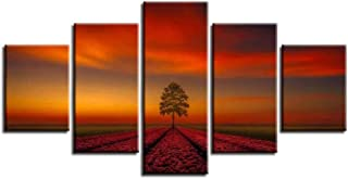 QQYYYT Living room modern home decoration picture artwork 5 pieces of trees sunset landscape poster canvas oil painting mo...