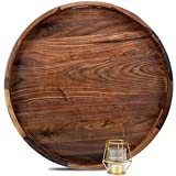 MAGIGO 22 Inches Extra Large Round Black Walnut Wood Ottoman Tray with Handles, Serve Tea, Coffee or Breakfast in Bed, Classic Circular Wooden Decorative Serving Tray