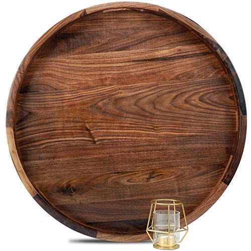 22 Inches Extra Large Round Black Walnut Wood Ottoman Tray with Handles