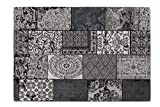 Alfombra Vintage LIFA LIVING con Bonito diseño de Patchwork | para salón y Dormitorio | Variaciones de Colores y tamaños | 30% algodón 70% poliéster (Negro y Gris, 80 x 150 cm)