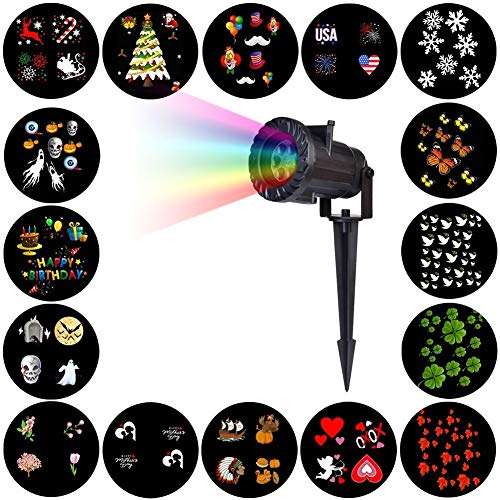 HLDUYIN Projecteur De Noël Carnaval Lampe15 Modèles Flocon De Neige Projecteur Extérieur LED Étanche Disco Lights Home Garden Star Light Décoration Intérieure