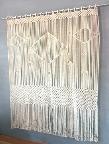 Livalaya Macrame Curtain Large Wall Hanging - 52' W x 78' L Door Window Curtains...
