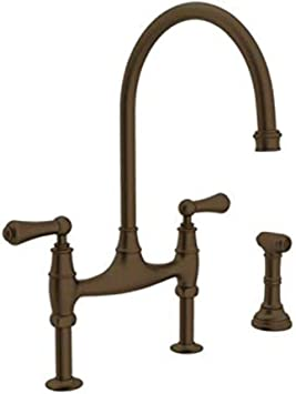 Rohl U 4719l Eb 2 Perrin And Rowe Deck Mount Bridge Kitchen Faucet With Sidespray With High C Spout And Metal Alsace Levers English Bronze Touch On Kitchen Sink Faucets Amazon Com