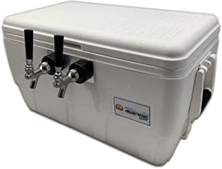 COLDBREAK Jockey Box, 2 Taps, Rear Inputs, 48 Quart Marine Cooler, 50' Coils, Stainless Steel Shanks, Includes Stainless Faucets, Kegmate