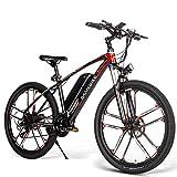 Carsparadisezone Bicicleta Eléctrica de Montaña Ciclomotor 26 Pulgadas con Motor de 350W Bateria de Litio 48V 8AH Marco de Aluminio Frenos de Disco 3 Modos de Arranque [EU Stock]