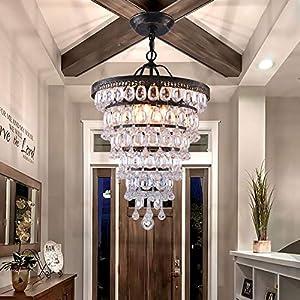 PAPAYA Farmhouse Raindrop Acrylic Crystal Chandelier 4-Light Vintage Ceiling Light Fixture Gold on Bronze Hanging Pendant Lighting
