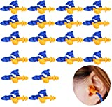 20 Pairs Corded Ear Plugs Reusable with Cord Silicone Earplugs Sleep Noise Cancelling for Hearing Protection,Christmas Tree Shape 1270 soundproof earplugs,Noise Reduction,Waterproof, Swimming(Blue)