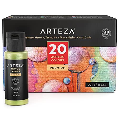 ARTEZA Iridescent Acrylic Paint, Set of 20 Harmony Colors, 2-oz Bottles,...