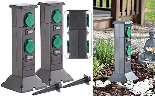 Royal Gardineer Außensteckdose Garten: 2er-Set 4-fach-Steckdosen-Säulen für den Garten, IP44 (Säulen-Gartensteckdosen)
