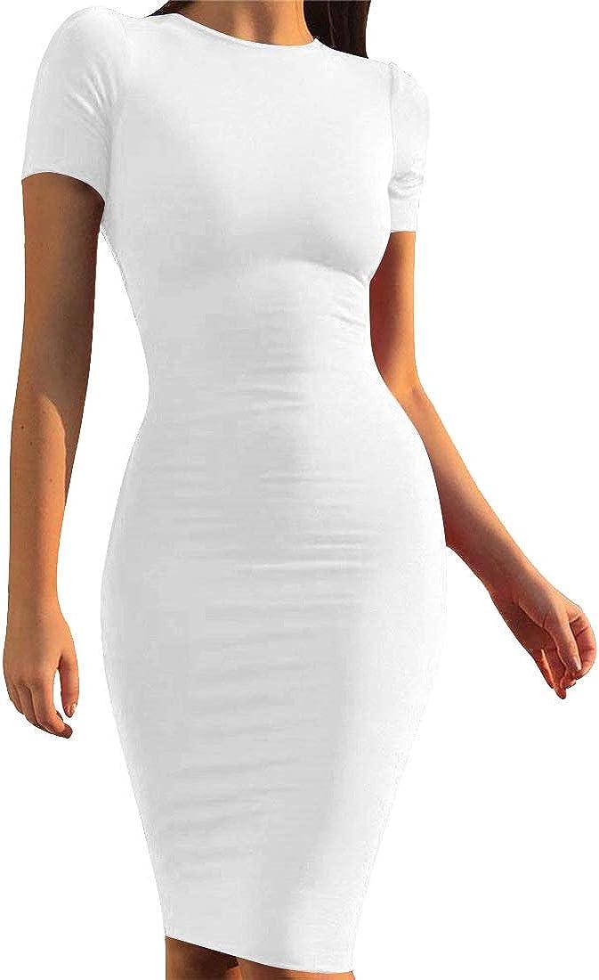 Mokoru Women's Casual Basic Pencil Dress Sexy Long Sleeve Bodycon Midi Club Dress