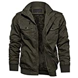 TACVASEN Military Jacket for Men Stand Collar Outdoor Winter Casual Coat,Green 2XL