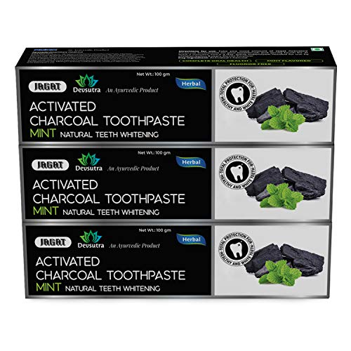 Jagat Devsutra Activated Charcoal Mint Toothpaste, Fluoride Free & SLS Free Herbal Toothpaste | 100% Natural Whitening Teeth White No Artificial Colors, BPA Free, Gum Cure, VEGAN, Packof 3 (3.5oz X 3)