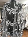 K13D floreale abito da sposa/matrimonio fiore ricamato pizzo tessuto Scallop Trim applique 130larghezza argento, Silver, 0.5 Yards