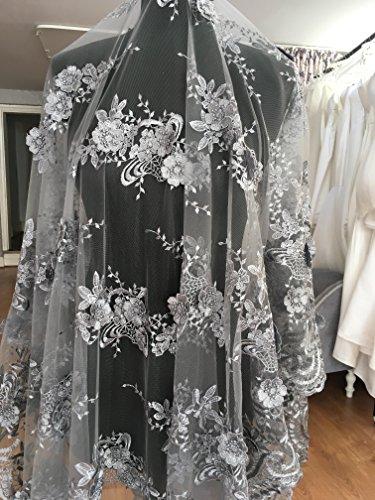 K13D Blumen Brautschmuck/Hochzeit Kleid bestickt Spitze Stoff scallop Trim Aufnäher 130Breite Silber, silber, 1 Yard