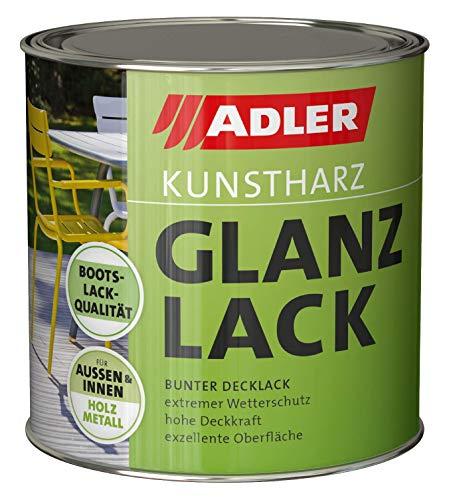 ADLER Kunstharz Glanzlack - Weiß 750 ml - Erstklassiger Lack glänzend, geruchsarm mit guter Wetter- und Vergilbungsbeständigkeit und hoher Deckkraft - Kunstharzlack in Bootslack Qualität