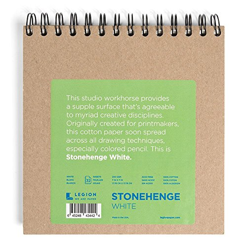 Legion Stonehenge Wired Pad, Cotton Deckle Edge Paper, 7 X 7 inches, White, 32 Sheets