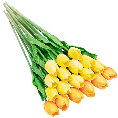 fomyhot 20 unids Tulipanes Artificiales Ramos deTulipanes Realistas Flores Material de PU para la decoración de la Boda del Partido del Hotel en casa(14 Amarillo+6 Rojo Atardecer)