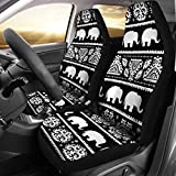 BIGCARJOB Tribal Aztec Style Elephant Print Car Seat Covers Set of 2 Automotive Accessiores,Front Drive Seat Protector Mats,Full Set Saddle Blanket Mats fit Most Sedan,Truck SUV