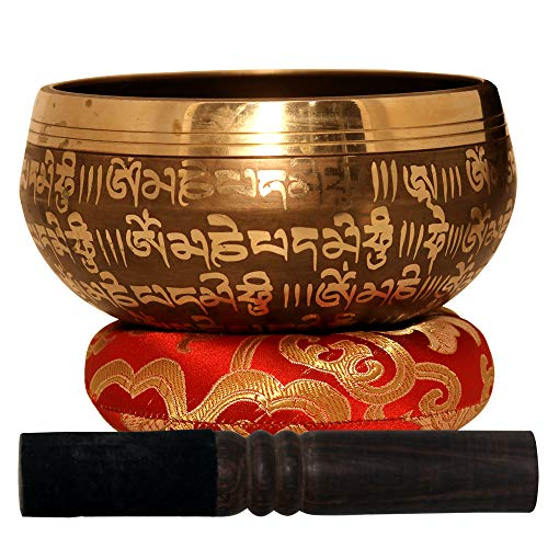Large Tibetan Singing Bowl Set-Meditation Symbols Printed 5 inch Singing Bowl With Wooden Mallet & Cushion For Prayer/Meditation/Yoga/Chakra Healing/Mindfulness/Decoration (Gold)