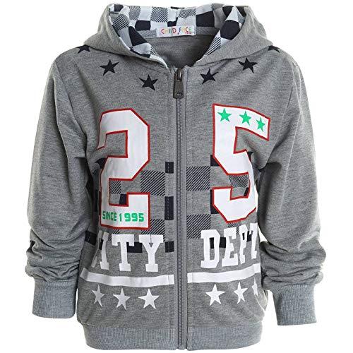 Jungen Hoodie Kapuzen Pullover Pulli Kinder Sweater Sweat Shirt Jacke 30142 Grau 104