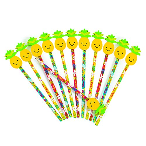 Fun Express Luau Tropical Pencil with Pineapple Eraser Topper (1 Dozen) Classroom Supplies,, Party Favors, Beach Party Decorations