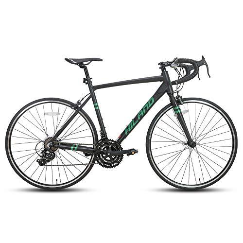 Hiland Rennrad 700c Rennrad Aluminium City Commuter Fahrrad mit 21 Geschwindigkeiten 49CM Schwarz