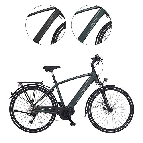 FISCHER Herren - Trekking E-Bike VIATOR 4.0i, Elektrofahrrad, grün matt, 28 Zoll, RH 50 cm, Mittelmotor 50 Nm, 48 V Akku im Rahmen