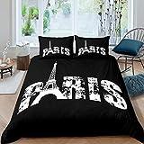 Feelyou Paris Bettwäsche-Set, Paris Eiffelturm, Bettbezug für Kinder, Jungen, Mädchen, Erwachsene, modernes Stadtbild, Bettdeckenbezug, weich, leicht, Tagesdecke mit 2 Kissenbezügen, schwarz, weiß