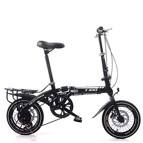 Grimk 16 Zoll Klapprad Faltrad Aluminium Damen Leicht Falträder Klappräder Männer Faltbar Fahrrad Erwachsene Mit Kinder Citybike Herren Klappfahrrad Urban Bike,Black,16inches