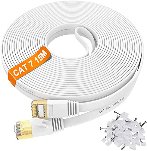 IKBC - CAT 7 LAN Kabel 15 meter weiß 15m Netzwerkkabel Flach Hochgeschwindigkeits -10000Mbit/s Gigabit Ethernet-Kabel - schneller als Cat.5e Cat.6 | RJ45 Patchkabel für Router/Switch/Xbox/Modem