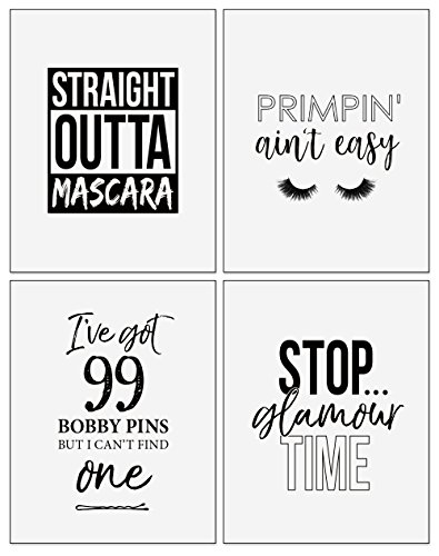 Confetti Fox Makeup Wall Art Decor - 8x10 Unframed Set of 4 Prints - Girls Funny Beauty Sayings Bathroom Humor Typography Quotes