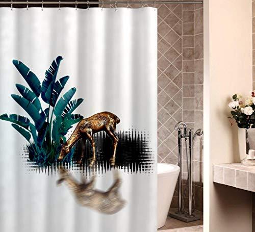GjbCDWGLA REH Mit Grünen Blättern Duschvorhang Weiche Badvorhänge Wasserabweisende Anti-Schimmel-Duschvorhänge Aus Polyester 180 * 180 cm