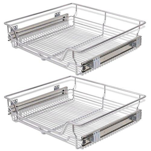 Festnight 2Stk.60cm Ausziehbare Einbauschublade Teleskopschublade Küchenschublade Schlafzimmerschublade Drahtkörbe Korbauszug Silberfarbe für 600mm breite Küchenschrank