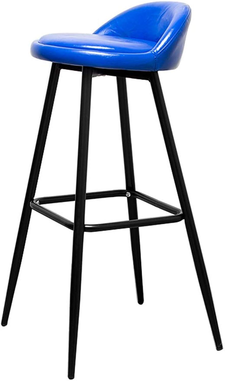 SYF Barstool Modern Fashion Black Metal Bar Chair Legs Bar Stool Furniture Kitchen Bench PU Cushion Design Sitting Height  79CM A+ (color   bluee)