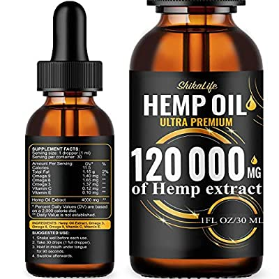Hemp Oil Drops 120 000 mg, Co2 Extracted, Made in USA, Help Reduce Stress, Anxiety and Pain, 100% Natural Ingredients, Vegan Friendly, GMO Free by ShikaLife