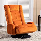 Artechworks Swivel Video Gaming Chair with Arms, Velvet Floor Chair Folding Lazy Sofa Lounger Adjustable 6 Position for TV Reading Relax, Orange