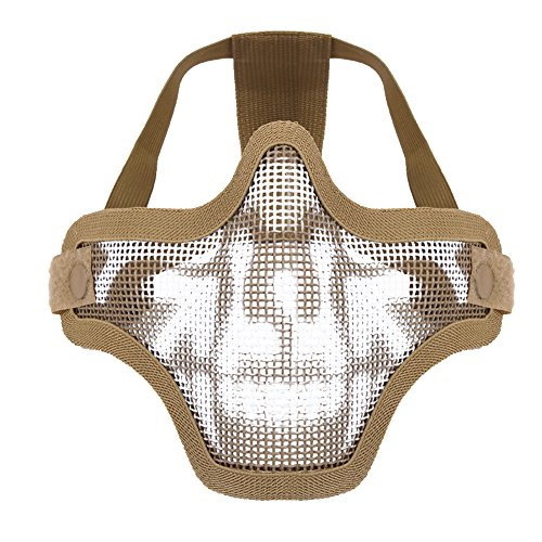 CHIC-CHIC- Demi Visage Masque en Maille Filet Protéger Masque Ceinture Paintball Airsoft Chasse CS Jeu Extérieur en Métal (kaki)