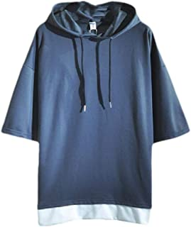 RkBaoye Mens Slim Fit Stitching Hooded Short Sleeve Pullover Top Sweatshirt