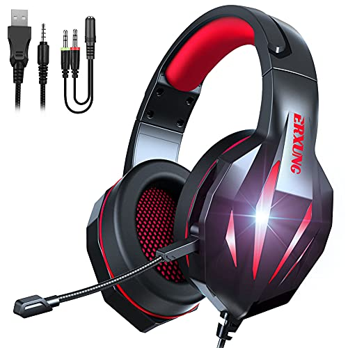 Gaming-headset met microfoon Surround Stereo Stereo Casque LED-verlichting Headset, geschikt voor gaming Nieuwe Xbox One pc Ps4-laptop,Red