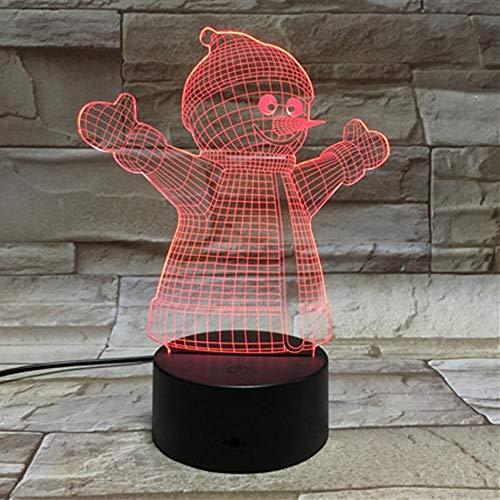 Yujzpl 3D-illusielamp Led-nachtlampje, USB-aangedreven 7 kleuren Knipperende aanraakschakelaar Slaapkamer Decoratie Verlichting voor kinderen Kerstcadeau-Kerst sneeuwpop knuffelen