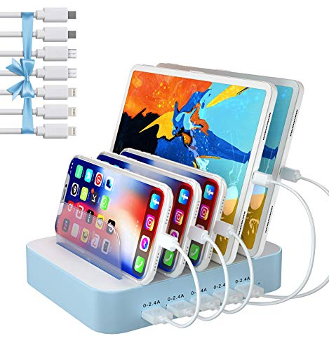Charging Station for Multiple Devices, 5 Port USB Charging Station with 7 Short Mixed Cables, Compatible with iPhone, iPad, Cell Phone, Tablets, and Other Electronics, Blue