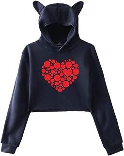 Aunimeifly Women's Hooded Sweatshirt Cat Ears T-Shirts Heart-Shaped Print Tops Loose Shirt Short Blouse