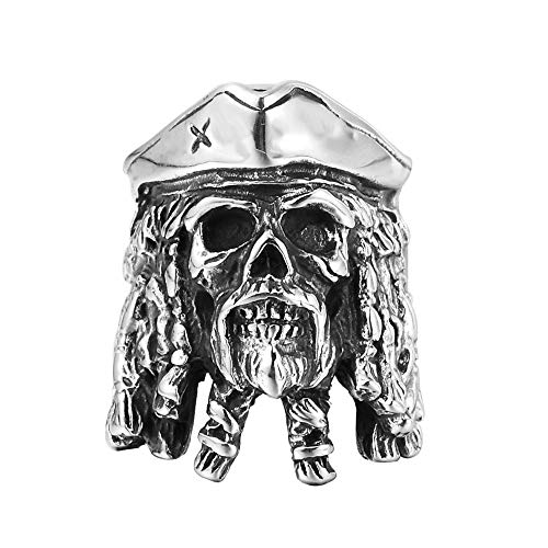 Anillo de Piratas del Caribe Anillo de Acero de Titanio con diamante.