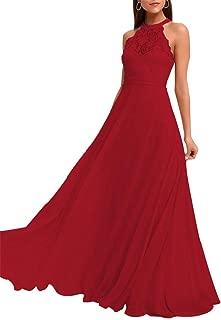 Halter A Line Lace Bridesmaid Dresses Long Chiffon Wedding Party Dress for Women