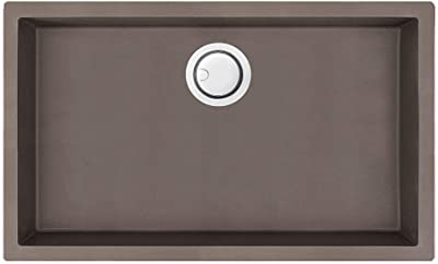 Transolid ZTSS3018-12 Zero Granite Super Single Bowl Dual Mount Kitchen Sink, Espresso