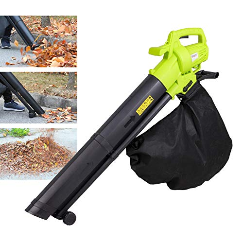 3000W Garden Leaf Blower & Vacuum Shredder, 3 in 1 Leaf Blower with 35L Leaf Collection Bag, Carry Strap, Rolling Wheels, 10:1 Shredding Ratio, 10M Power Cable, Lightweight Compact for Home Garden Use